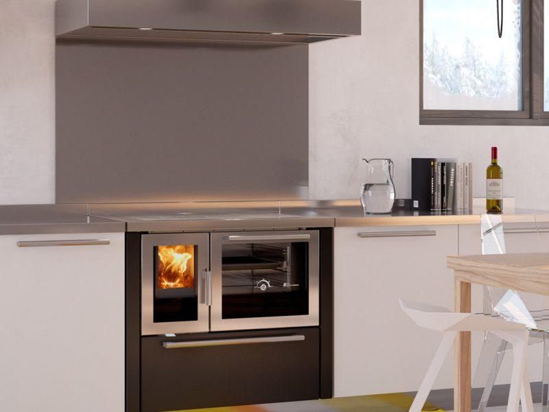 Cucina economica a legna moderna